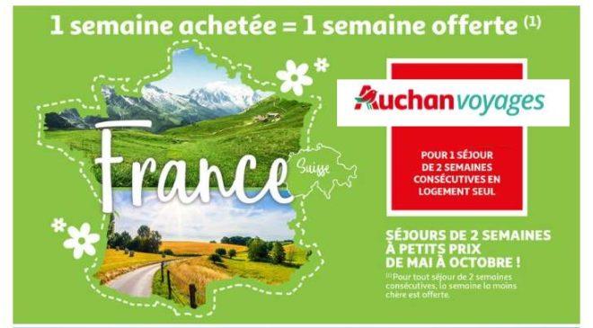Bon plan vacances Auchan Voyages 1 semaine achetée = 1 semaine offerte cet été