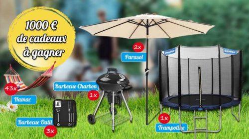 Concours tentez de gagner trampoline, barbecue charbon, parasol