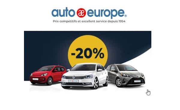 location de voiture moins chère avec jusqu'à 20% sur auto europe