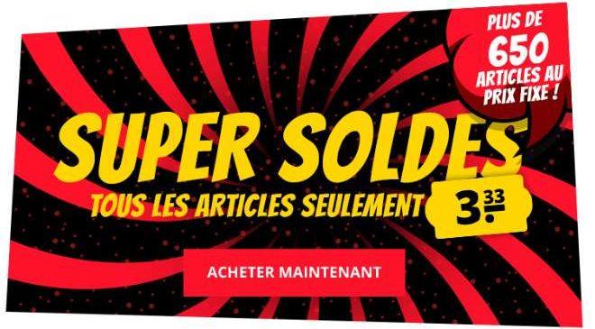 Super SOLDES Sport Outlet 650 articles à seulement 3,33 €
