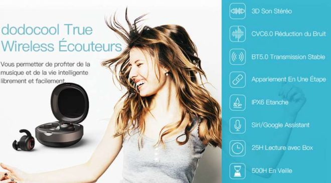 écouteurs Bluetooth sans fils dodocool Bluetooth 5.0, supporte Siri Google