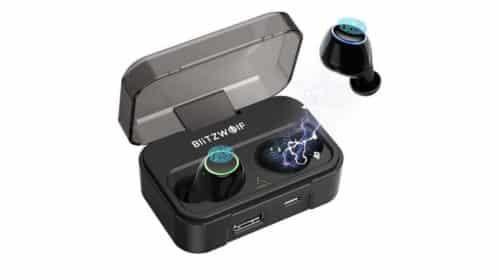 écouteurs sans fils Bluetooth 5.0 BlitzWolf étanche avec contrôle tactile et boitier de charge