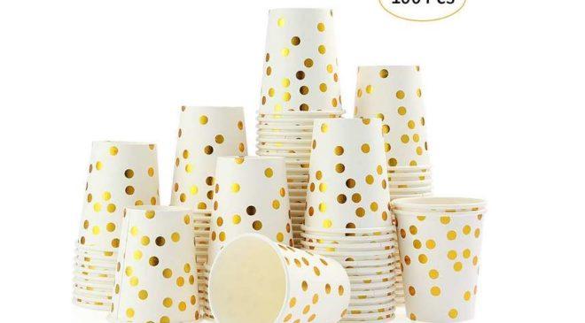 le lot de 100 gobelets papier jetables avec points dorés Esonmus