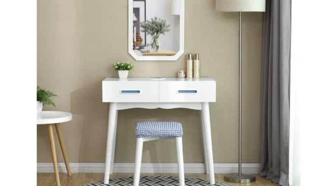 meuble coiffeuse avec miroir et 2 tiroirs et tabouret