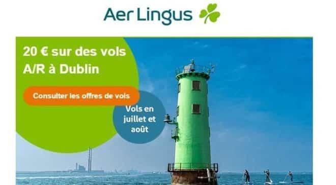 remise sur votre billet d'avion Aer Lingus vers l'Ireland cet été