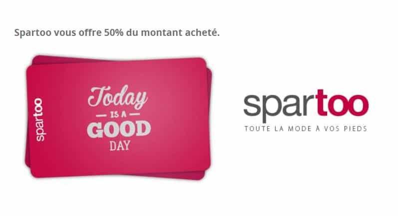 1 chèque cadeau Spartoo acheté = 50% de sa valeur offerte