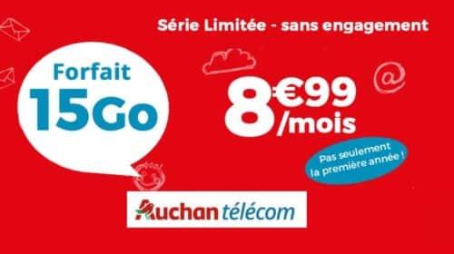 15Go sur le Forfait Auchan Telecom à seulement 8,99€