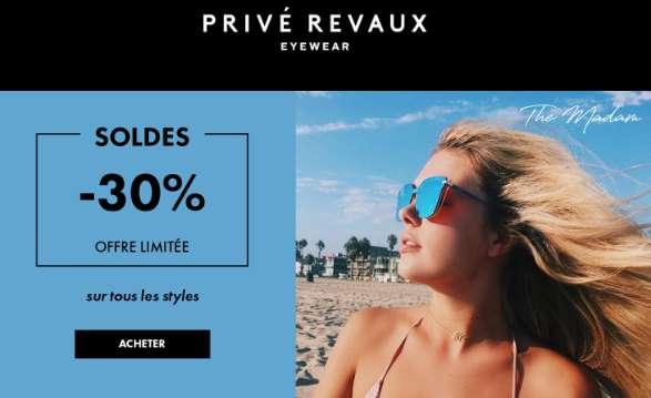 30% de remise sur toutes les lunettes de soleil Privé Revaux