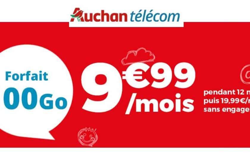 Forfait 100Go Auchan Telecom à 9,99€