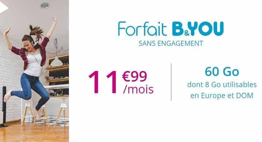 Vente Flash Forfait B&you 60 Go à 11,99€ Mois
