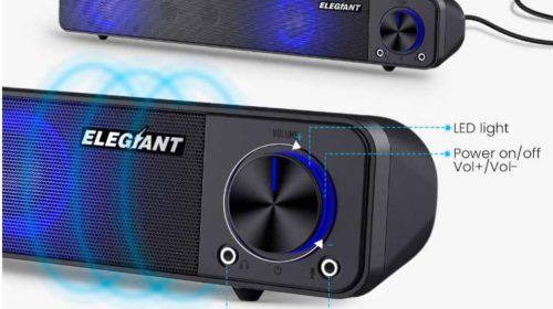 barre de son Elegiant pour home cinéma, PC, musique… USB avec LED