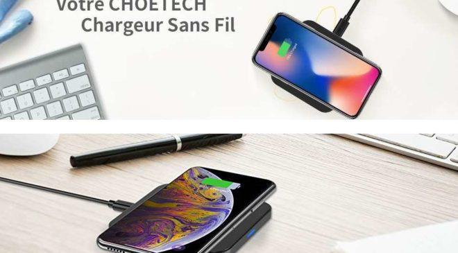 chargeur sans fil QI Choetech (smartphone & IPhone) différents coloris