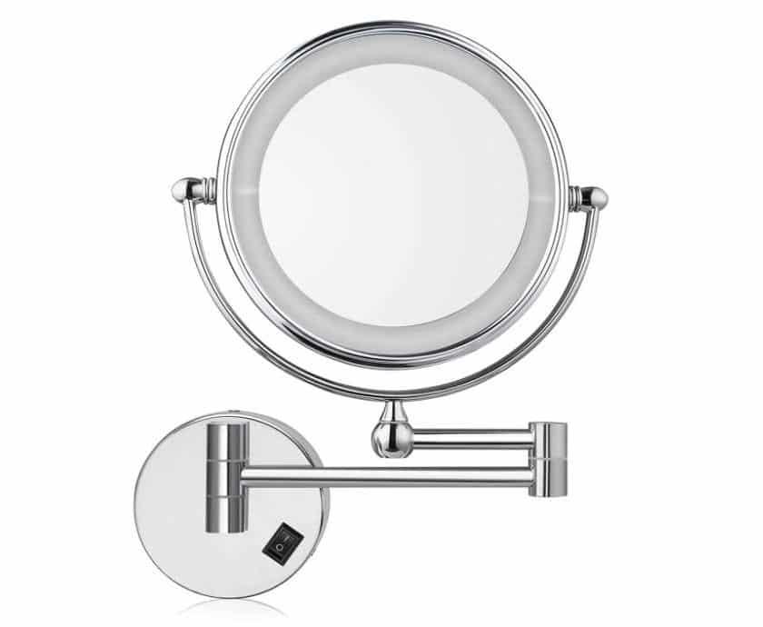 miroir mural LED, pivotant, pliant et grossissement x7 Amzdeal