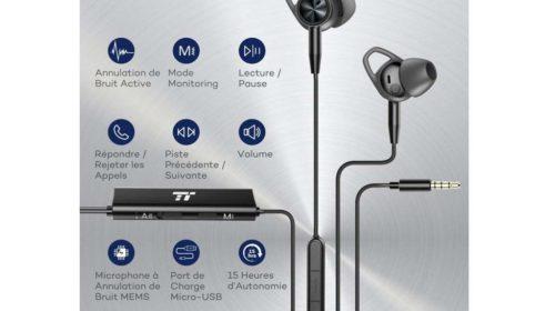 écouteurs aluminium avec micro, télécommande et puce diminution de bruit TaoTronics