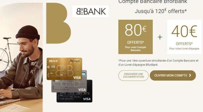 120€ offerts par BforBank pour l'ouverture d'un compte et livret épargne