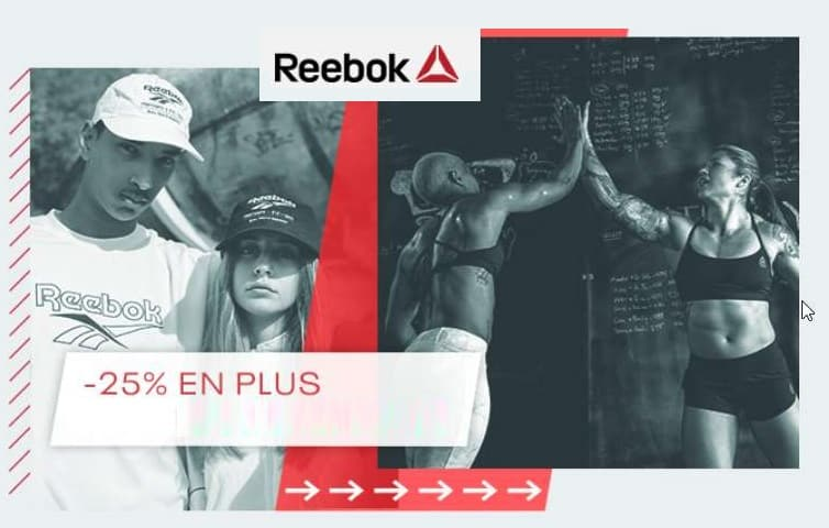 25% de remise en plus sur les articles Reebok en soldes