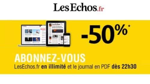 Abonnement Les Echos moitié prix en version digital