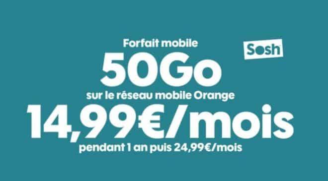 Offre Forfait 50Go SOSH Appels