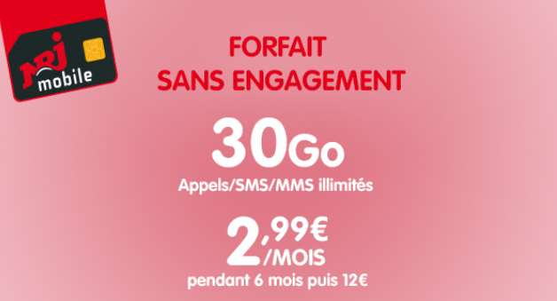 Vente Privée NRJ Mobile forfait 30Go à 2,99€