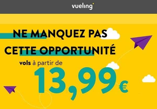 billet d'avion vueling pas cher à partir de 13,99€