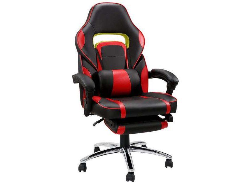 fauteuil gaming de bureau LANGRIA avec repose pied, dossier inclinable, cousin lombaire