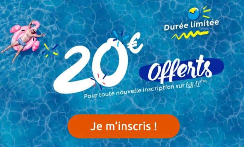jouez en ligne 10€ et obtenez 20€ offerts sur le site Française des jeux