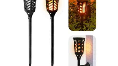 N//N lanterne solaire /à effet de flamme pour jardin d/écoration de paysage Lot de 2 lampes solaires /à 12 LED avec flamme vacillante terrasse all/ée