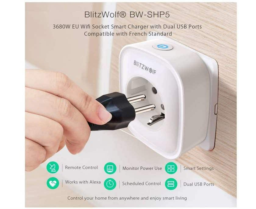 prise connectée Wi-Fi BlitzWolf avec 2 ports USB