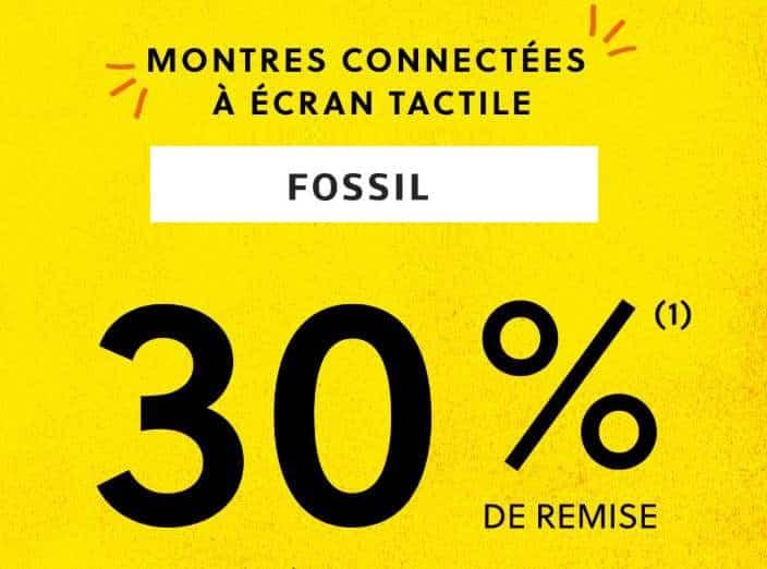 remise sur les montres connectées Fossil