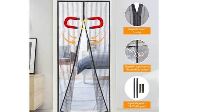 rideau moustiquaire de porte avec fermeture magnétique et fixation Velcro