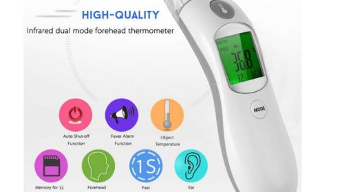 thermomètre infrarouge oreille ou front (écran digital, mémoire