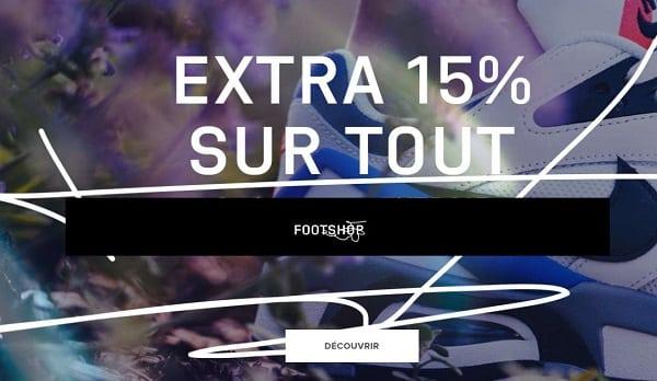 15% de remise sur tout le site footshop même promo