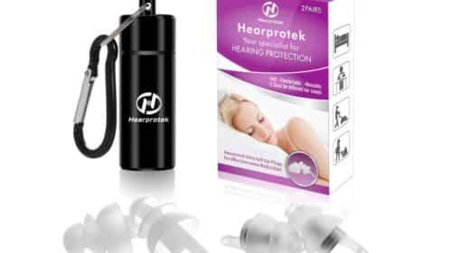 2 paires de bouchons d'oreille antibruit Heartprotek réutilisables