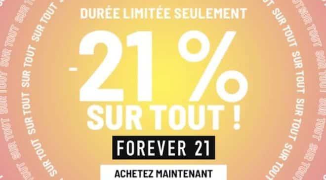 21% de remise sur tout le site Forever 21