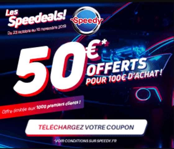50€ pour faire pour 100€ de prestation dans un centre auto Speedy Deals
