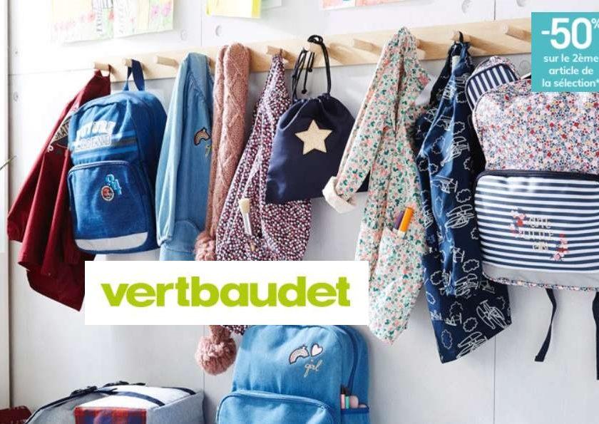 Rentrée Vert Baudet -50% sur le 2ème article fournitures scolaires