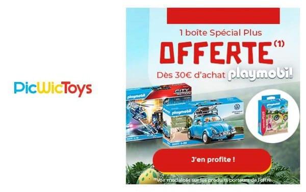 1 boite playmobil spécial plus offerte pour 30€ d'achat playmobil