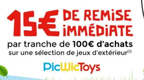 15€ de remise par tranche 100€ sur les jeux d'extérieur sur PicWicToys