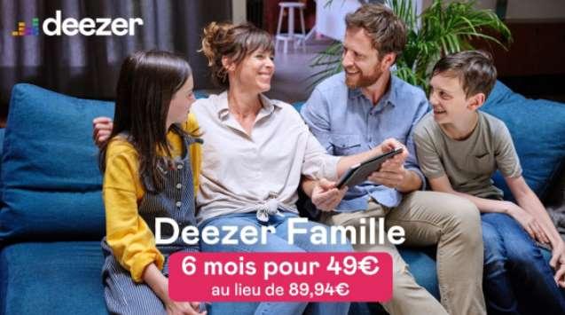 Abonnement Deezer Famille à moitié prix en vente privée