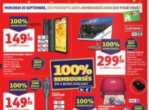 Catalogue des produits 100% remboursés Auchan du mercredi 25 septembre 2019