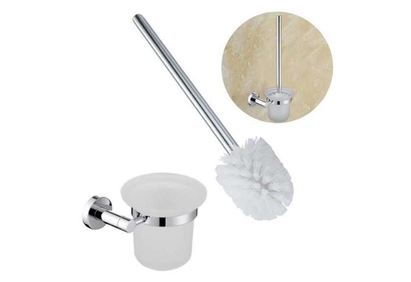 brosse à WC mural en acier et verre Homelody