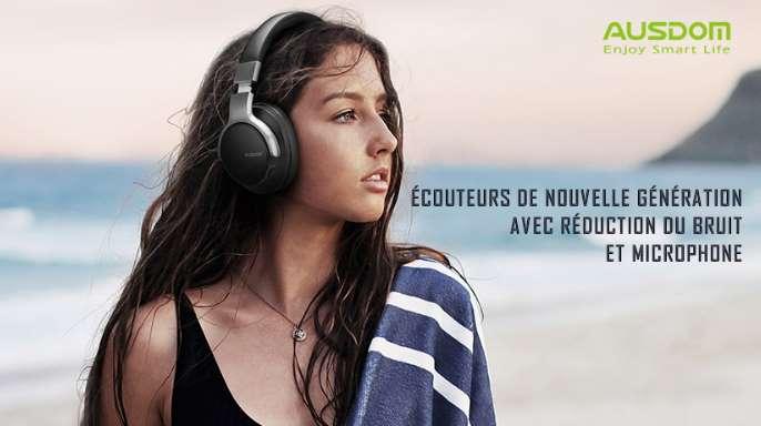 casque Bluetooth avec micro Ausdom Anc8