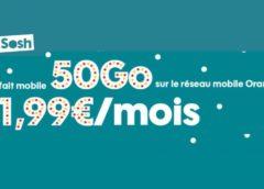 11,99€ Forfait 50Go SOSH Appels (dont fixe Europe, USA, Canada), SMS (dont Europe) illimités au lieu de 24,99€