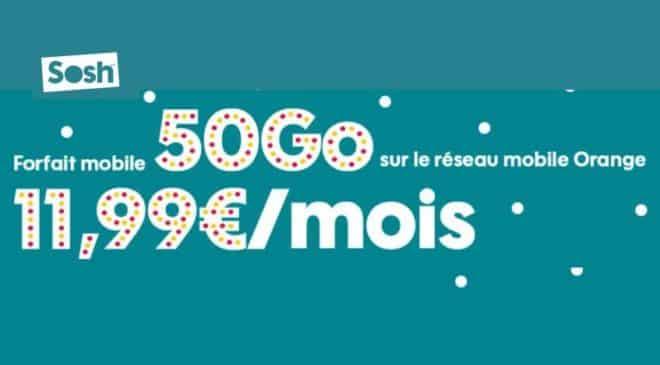 11,99€ Forfait 50Go SOSH Appels
