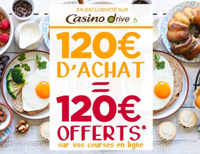 120€ d'achat sur Casino Drive 120€ offerts en 4 bons d'achat