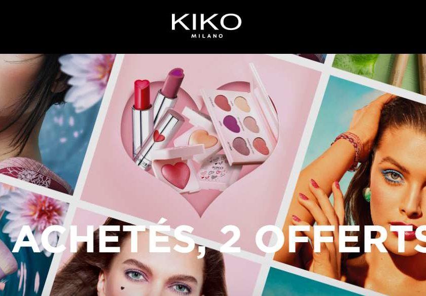 2 achetés = 2 produits offerts sur une sélection Kiko Milano