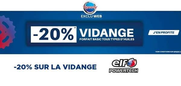 20% Remise Sur Le Forfait Vidange Basic Chez Speedy