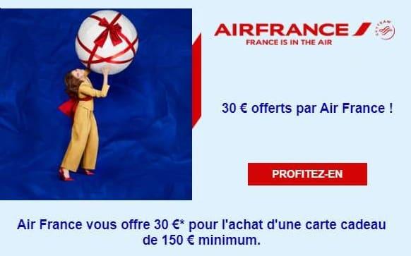 30€ Offerts En Plus Sur Les Cartes Cadeaux Air France D'un Minimum De 150€