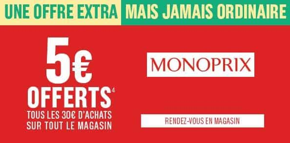 Coupon de réduction Monoprix 5€ de remise