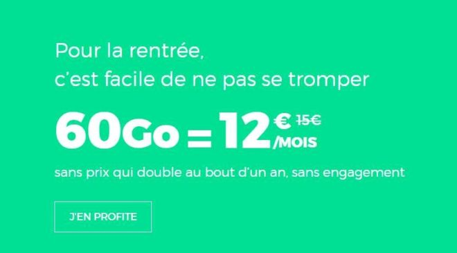 Forfait sans engagement Red by SFR de 60Go à 12€